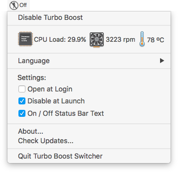Turbo Boost Switcher for OSX / macOS